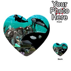 Cute Mermaid Playing With Orca Multi Purpose Cards (heart)