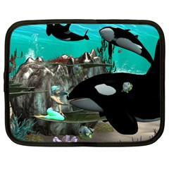 Cute Mermaid Playing With Orca Netbook Case (Large)