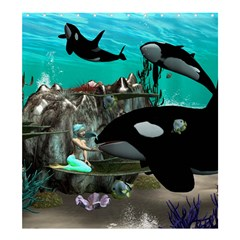 Cute Mermaid Playing With Orca Shower Curtain 66  x 72  (Large)