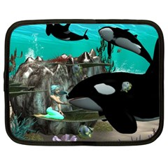 Cute Mermaid Playing With Orca Netbook Case (XL)