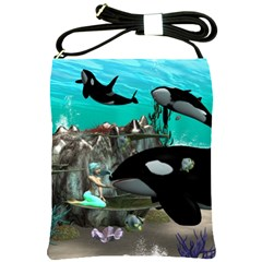 Cute Mermaid Playing With Orca Shoulder Sling Bags