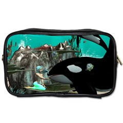 Cute Mermaid Playing With Orca Toiletries Bags