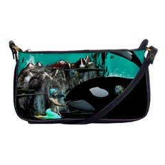 Cute Mermaid Playing With Orca Shoulder Clutch Bags