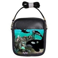 Cute Mermaid Playing With Orca Girls Sling Bags
