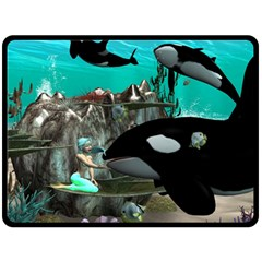 Cute Mermaid Playing With Orca Fleece Blanket (Large)