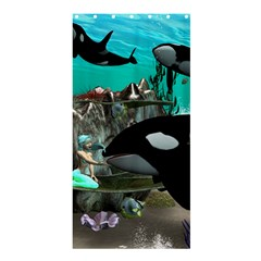 Cute Mermaid Playing With Orca Shower Curtain 36  X 72  (stall)