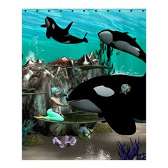 Cute Mermaid Playing With Orca Shower Curtain 60  X 72  (medium)