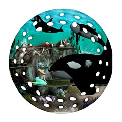 Cute Mermaid Playing With Orca Round Filigree Ornament (2Side)