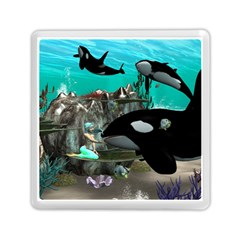 Cute Mermaid Playing With Orca Memory Card Reader (Square)