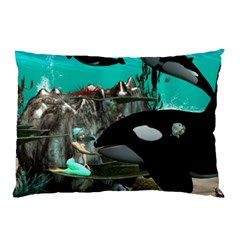 Cute Mermaid Playing With Orca Pillow Cases (two Sides)