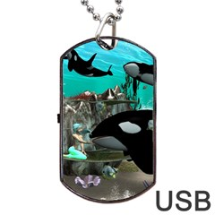 Cute Mermaid Playing With Orca Dog Tag Usb Flash (two Sides)