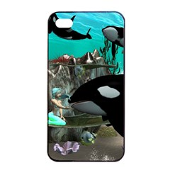 Cute Mermaid Playing With Orca Apple iPhone 4/4s Seamless Case (Black)