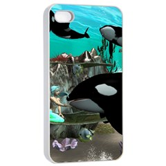 Cute Mermaid Playing With Orca Apple Iphone 4/4s Seamless Case (white)