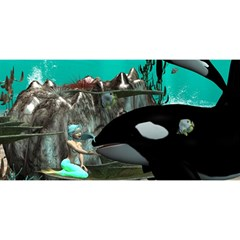 Cute Mermaid Playing With Orca YOU ARE INVITED 3D Greeting Card (8x4)