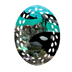 Cute Mermaid Playing With Orca Ornament (Oval Filigree)