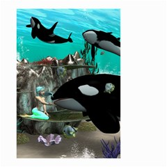 Cute Mermaid Playing With Orca Small Garden Flag (Two Sides)