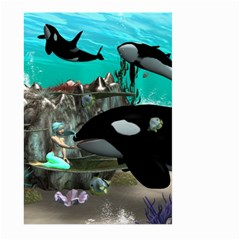 Cute Mermaid Playing With Orca Large Garden Flag (Two Sides)
