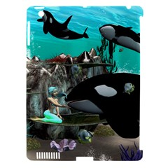 Cute Mermaid Playing With Orca Apple iPad 3/4 Hardshell Case (Compatible with Smart Cover)