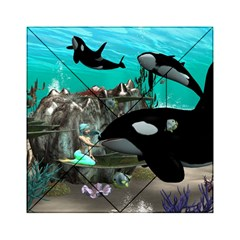 Cute Mermaid Playing With Orca Acrylic Tangram Puzzle (6  x 6 )