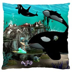 Cute Mermaid Playing With Orca Large Cushion Cases (One Side)