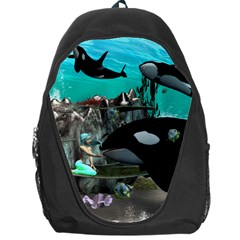 Cute Mermaid Playing With Orca Backpack Bag