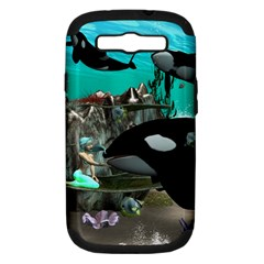 Cute Mermaid Playing With Orca Samsung Galaxy S III Hardshell Case (PC+Silicone)
