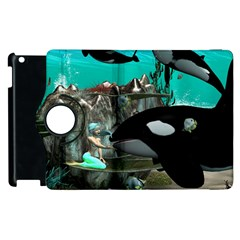 Cute Mermaid Playing With Orca Apple Ipad 2 Flip 360 Case