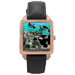 Cute Mermaid Playing With Orca Rose Gold Watches