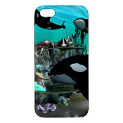 Cute Mermaid Playing With Orca Apple iPhone 5 Premium Hardshell Case