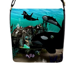 Cute Mermaid Playing With Orca Flap Messenger Bag (L)