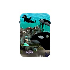 Cute Mermaid Playing With Orca Apple iPad Mini Protective Soft Cases
