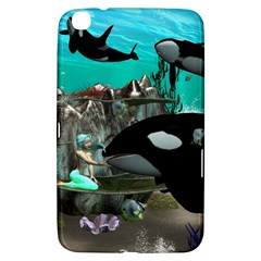 Cute Mermaid Playing With Orca Samsung Galaxy Tab 3 (8 ) T3100 Hardshell Case