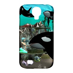 Cute Mermaid Playing With Orca Samsung Galaxy S4 Classic Hardshell Case (PC+Silicone)