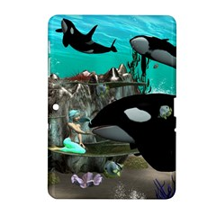 Cute Mermaid Playing With Orca Samsung Galaxy Tab 2 (10 1 ) P5100 Hardshell Case