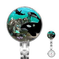 Cute Mermaid Playing With Orca Stainless Steel Nurses Watches