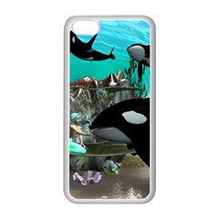 Cute Mermaid Playing With Orca Apple Iphone 5c Seamless Case (white)