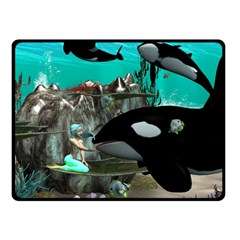 Cute Mermaid Playing With Orca Double Sided Fleece Blanket (small)