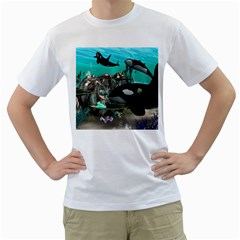 Cute Mermaid Playing With Orca Men s T-Shirt (White)
