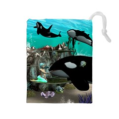 Cute Mermaid Playing With Orca Drawstring Pouches (Large)