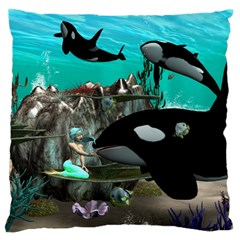 Cute Mermaid Playing With Orca Standard Flano Cushion Cases (One Side)