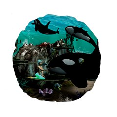 Cute Mermaid Playing With Orca Standard 15  Premium Flano Round Cushions