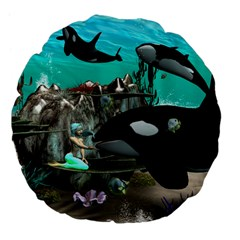 Cute Mermaid Playing With Orca Large 18  Premium Flano Round Cushions