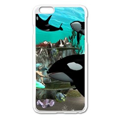 Cute Mermaid Playing With Orca Apple Iphone 6 Plus/6s Plus Enamel White Case
