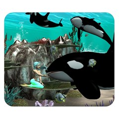 Cute Mermaid Playing With Orca Double Sided Flano Blanket (Small)