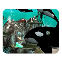 Cute Mermaid Playing With Orca Double Sided Flano Blanket (Large)
