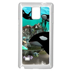 Cute Mermaid Playing With Orca Samsung Galaxy Note 4 Case (white)