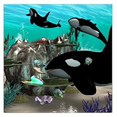 Cute Mermaid Playing With Orca Large Satin Scarf (Square)
