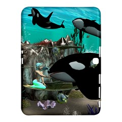Cute Mermaid Playing With Orca Samsung Galaxy Tab 4 (10 1 ) Hardshell Case