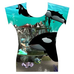 Cute Mermaid Playing With Orca Women s Cap Sleeve Top
