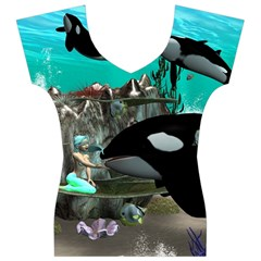 Cute Mermaid Playing With Orca Women s V-Neck Cap Sleeve Top